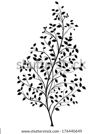 Vector tree silhouette over white background, symbol of nature