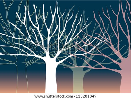 Vector Tree Silhouettes Isolated on Gradient Background - stock vector