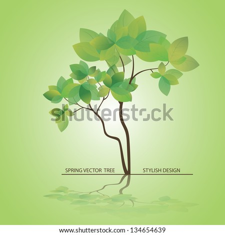 Vector Tree stylized. Spring card for mothers day