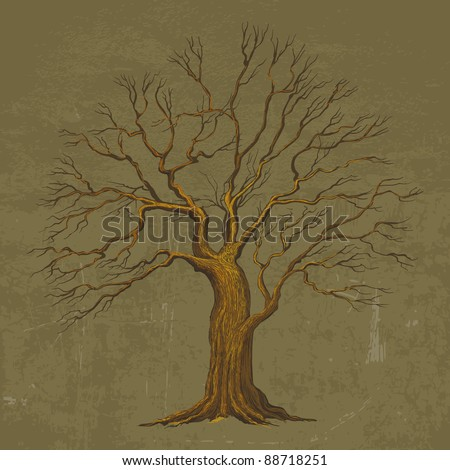 Vector tree vintage background - stock vector