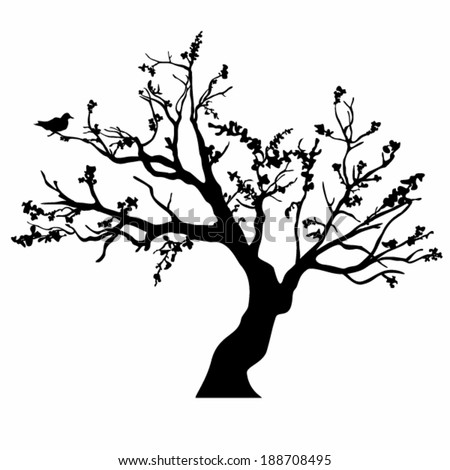 Vector tree with branches in the wind.                    - stock vector