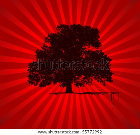 Vector Tree with red star burst background