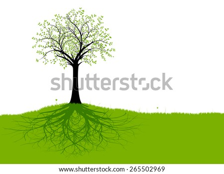 Vector tree with roots and green grass with branches, green foliage and black trunk. Silhouette - stock vector