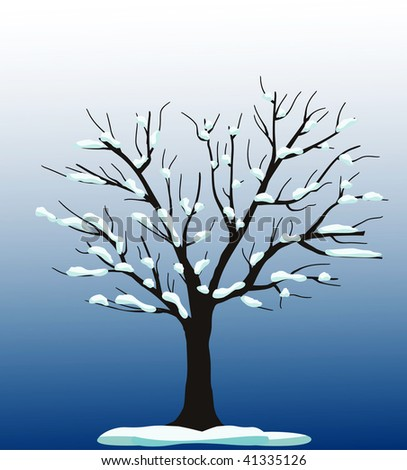 vector tree with snow - stock vector
