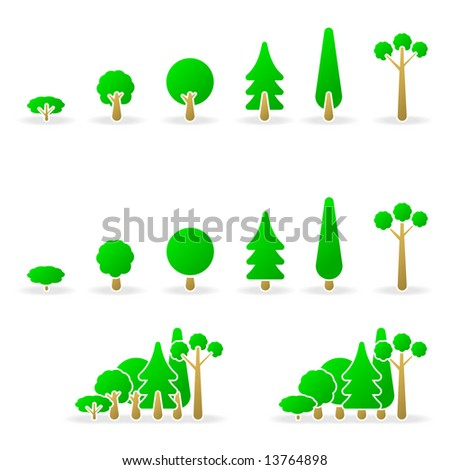 Vector trees icons - stock vector