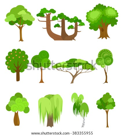 Vector trees icons illustrations. Simple cartoon style. Tree for game. - stock vector