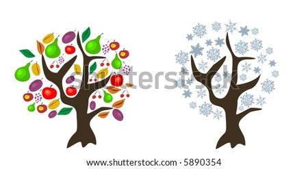 vector trees in autumn and winter - stock vector