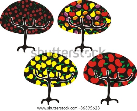 vector trees with fruits - stock vector