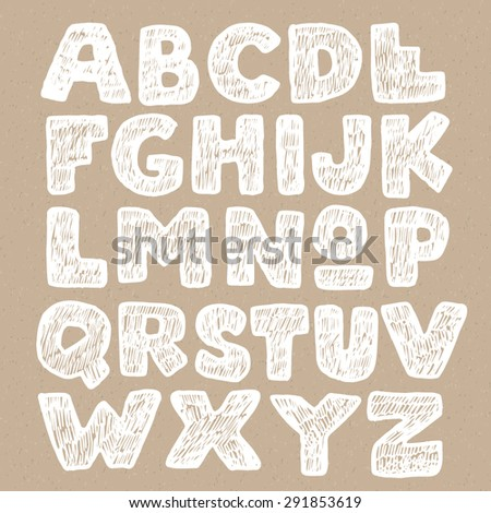Vector trendy hand drawn doodle font. High quality design element. - stock vector