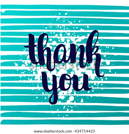 """vector trendy hand lettering poster. Hand drawn calligraphy. Template post card. concept handwritten motivation poster on blue lines """"thank you"""" brush fonts creative inspirational poster - stock vector"""