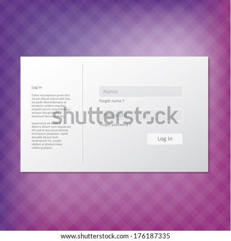 Vector trendy login form. Modern minimal graphic with place for your text. Sizable and editable vector graphic. Box on blurry background. - stock vector