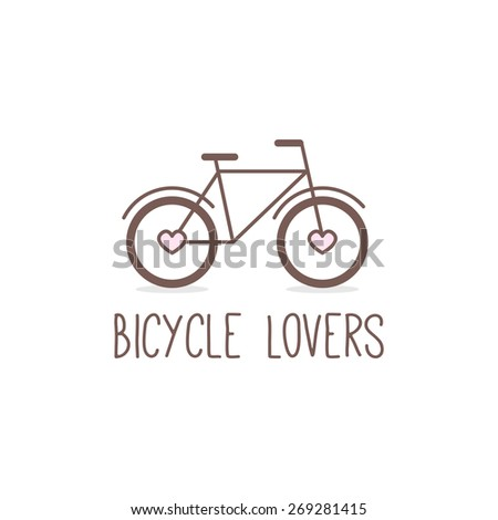 Vector trendy outline cute bicycle logo. Bicycle store logotype. - stock vector