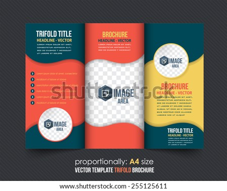 Vector Tri Fold Brochure Design. Corporate Leaflet, Cover Template - stock vector