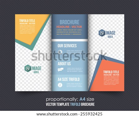 Vector Tri-Fold Brochure Design. Corporate Leaflet, Cover Template - stock vector