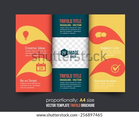 Vector Tri Fold Brochure Design. Corporate Leaflet, Cover Template - stock vector