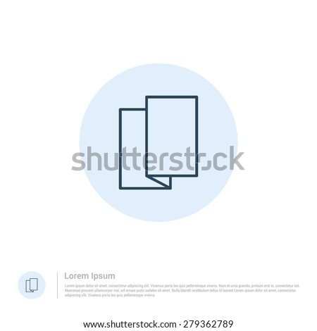 vector Tri-fold brochure flyer icon thin line for web and mobile, modern minimalistic flat design. Vector outline icon and offset colour on light white background - stock vector