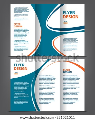 vector tri fold brochure template design concept business leaflet 3 folded blue vector flyer