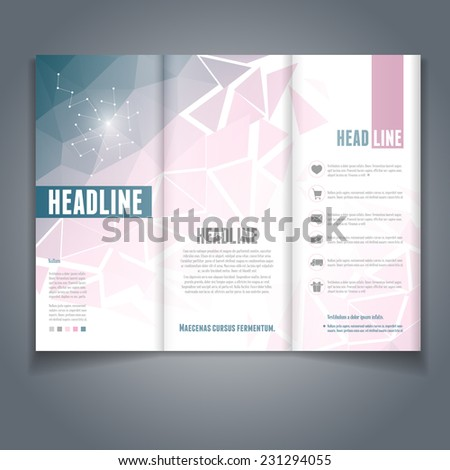 Vector tri-fold flyer or brochure template with colorful geometric triangle background. Abstract modern trendy design. - stock vector