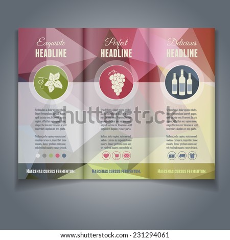 Vector tri-fold flyer or brochure template with colorful geometric triangle background. Abstract modern trendy design.