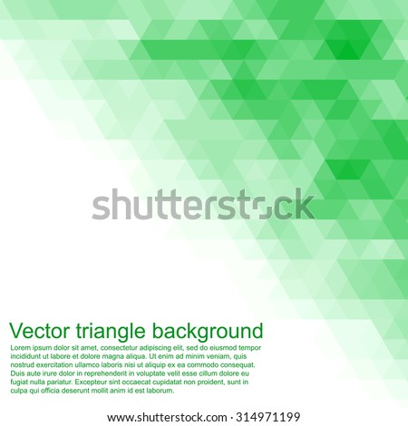 Vector triangle background. Can be used us cover or invitation card. Green pattern.