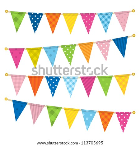Vector triangle bunting flags - stock vector