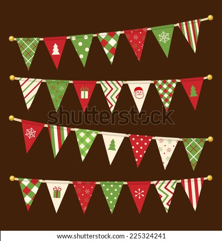 Vector triangle bunting flags. Christmas garland collection.  - stock vector