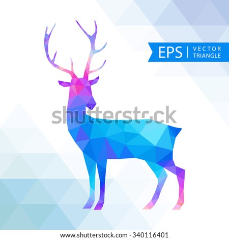 Vector triangle deer. New Year card with deer. Abstract geometric background - stock vector