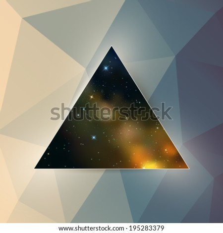 Vector triangle framed space illustration with abstract background
