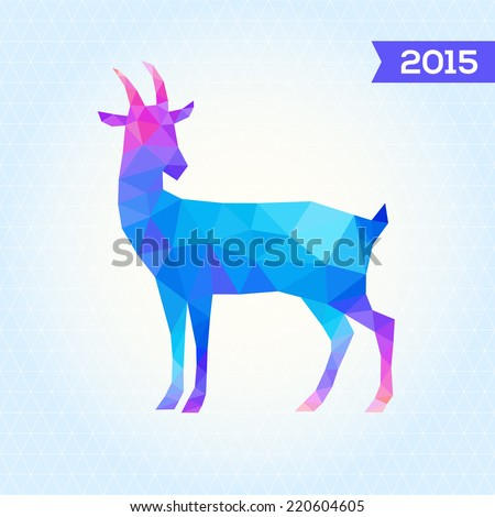 Vector triangle goat. New Year card with goat. Abstract geometric background - stock vector