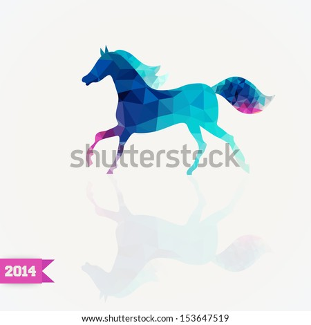 Vector triangle horse. Abstract horse of geometric shapes. Sign of the blue horse. Christmas, New Year card, illustration with horse. Holiday design.  Symbol of 2014. Winter. Backdrop. Gradient. - stock vector
