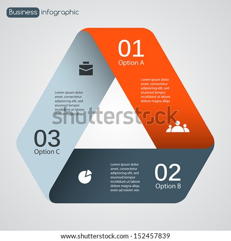 Vector triangle infographic. Template for diagram, graph, presentation and chart. Business concept with three options, parts, steps or processes. Abstract background. - stock vector