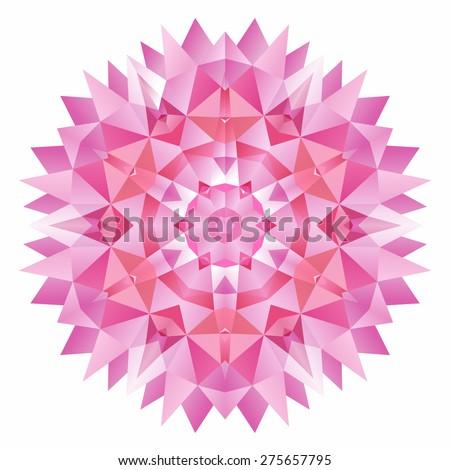 Vector triangle pattern background. Kaleidoscope flower mandala. Modern design template, vector illustration. - stock vector