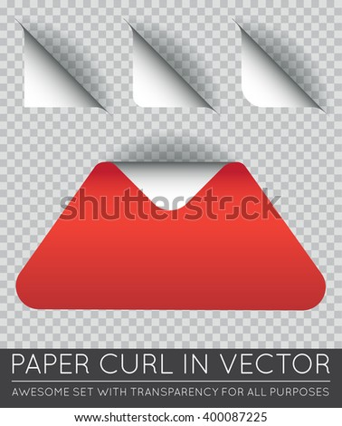 Vector Triangle with Paper Curl with Shadow Isolated Set. - stock vector