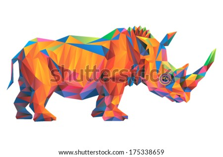 Vector triangular art - rhinoceros  - stock vector