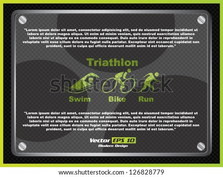 Vector triathlon advertising element - stock vector