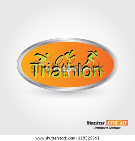 Vector triathlon emblem - stock vector