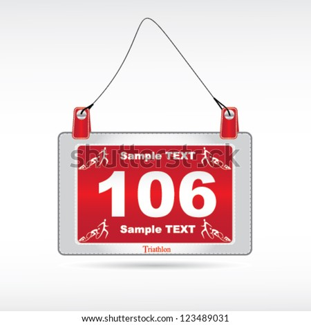 Vector triathlon racing number badge - stock vector
