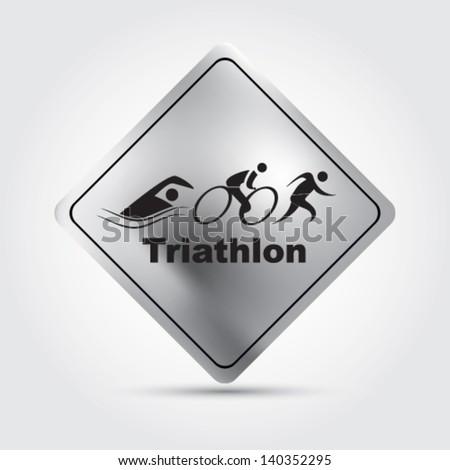 Vector triathlon sign - stock vector