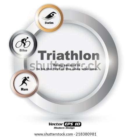 Vector triathlon symbol - stock vector