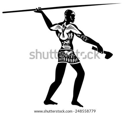 Vector tribal african man, hunter illustration, tattoo stamp - simple - stock vector
