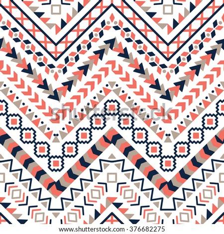 Vector tribal Aztec seamless patterns. Ethnic tribal borders. Tribal elements isolated. Boho folk Navajo frames. Tribal design. Geometric tribal background - stock vector