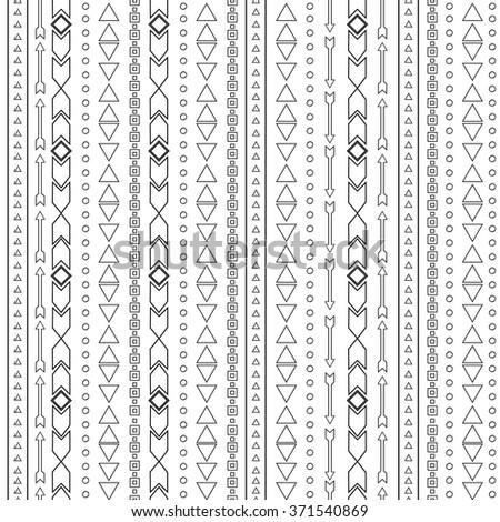 Vector tribal black and white seamless pattern. Boho stripes background. - stock vector