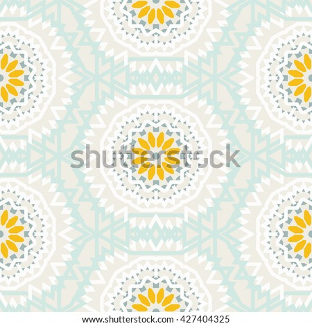 Vector tribal colorful bohemian pattern with big abstract flowers in pastel colors. Geometric boho chic background with Arabic, Indian, Moroccan, Aztec ethnic motifs. Bold ethnic print with mandalas