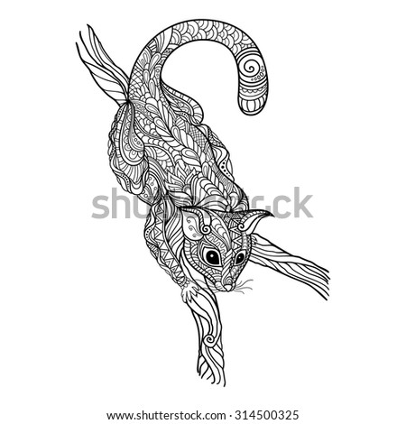 Vector Tribal Decorative Common Brushtail Possum. Isolated Animal On Transparent Background. Fox Kuzu In Zentangle Style