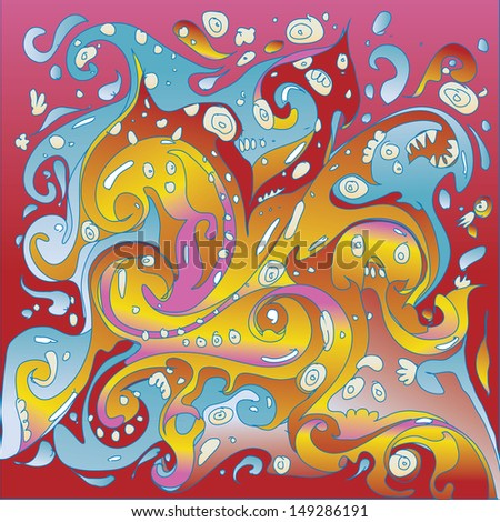vector tribal fluid colorful characters seamless pattern background - stock vector
