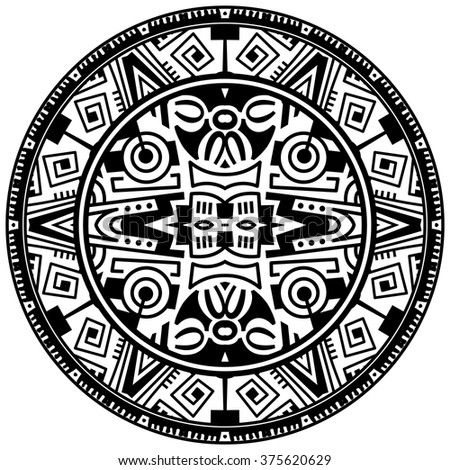Vector tribal ornamental circle reminiscent of the mayan calendar