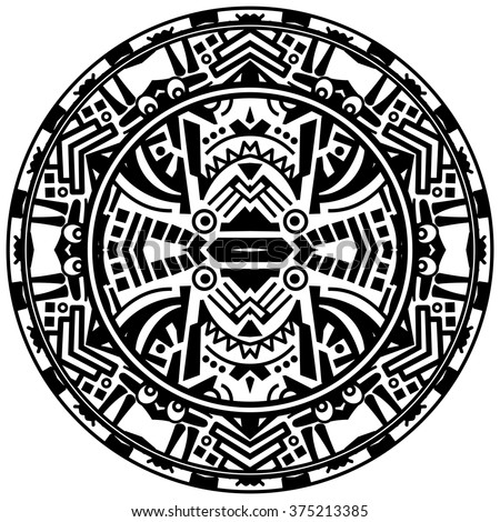 Vector tribal ornamental circle reminiscent of the mayan calendar with eyes
