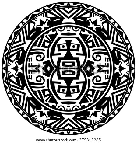 Vector tribal ornamental circle reminiscent of the mayan calendar with eyes - stock vector