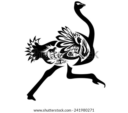 Vector tribal ostrich, illustration, tattoo stamp - simple - stock vector