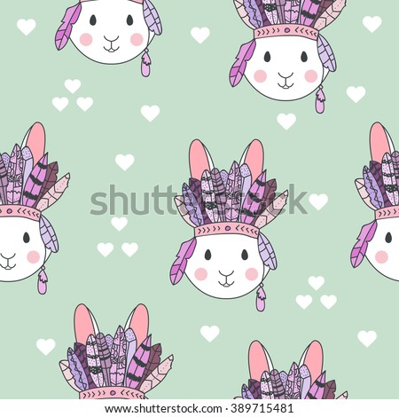 Vector tribal pattern with rabbit in headband with feathers. Hand drawn vector pattern for children fabric, clothes, room decoration. Cute bunny vector illustration. Bunny tribal fabric. Tribal rabbit - stock vector